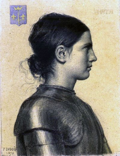 "Jeanne D'Arc, leader of the siege of Orleans.  Her mystical experiences included not only speaking to Saints, but also seeing Fairies (and declining to call them evil spirits).  Wore ""mens' clothing, executed for Heresy/Witchcraft; later re-inscribed as a Saint by the Catholic Church."
