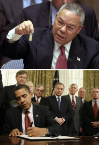 "Systematic deceit is not linked to either ""side"" of the dominant power structure. Above, At the UN, Colin Powell holds a model vial of anthrax, while arguing that Iraq is likely to possess WMDs. Image in the public domain. Below, on January 22, 2009, Barack Obama signs an executive order to close down the illegal Guantanamo Bay prison, which remains open to this day."
