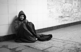 Under the Conservative-led government, homelessness has risen 55% in the past five years. Photo: homeless man in London.