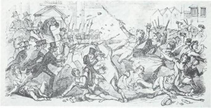 'Preston attack on the Military: two rioters shot', Illustrated London News, 13th August, 1842