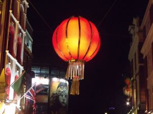 An actual red lantern, Chinatown, London. Advertisement for Les Misérables in background. Credit: Elliot Brown.