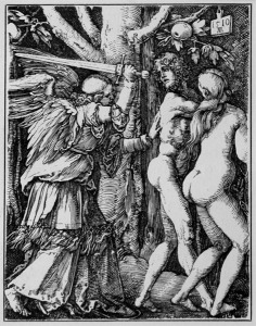 """Albrecht Dürer, The Fall Of Man, 1510. This powerful scene, on the expulsion of Adam & Eve from the Garden of Eden, evokes the expulsion of the peasantry from its common lands, which was starting to occur across western Europe at the very time when Dürer was producing this work."" -- commentary by Silvia Federici"