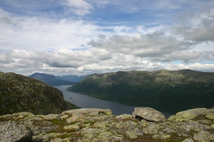 Picture of Lake Helin in Vang, Vestre Slidre, Valdres, Norway. Taken on top of Åkslefjellet showing Mountain Grindane in the North and Gilafjellet to the right (east). Photo by Trarir. Licensed under the Creative Commons Attribution-Share Alike 3.0 Unported license.