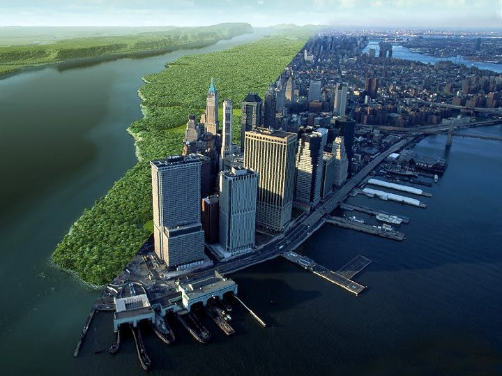 Mannahatta circa 1609 / Manhattan circa 2015