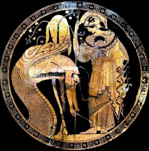 Jason being regurgitated by the snake who keeps the Golden Fleece. Red-figured cup by Douris, c. 480-470 BC. From Cerveteri (Etruria)