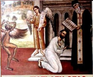 Saint Cyprian engaged in exorcism.