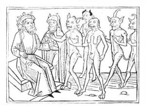 Solomon commanding the demons.