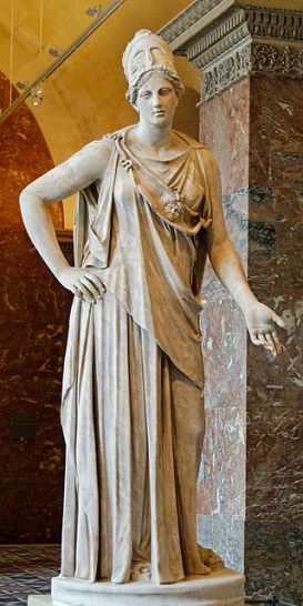 "So-called ""Mattei Athena"". Marble, Roman copy from the 1st century BC/AD after a Greek original of the 4th century BC, attributed to Cephisodotos or Euphranor. Related to the bronze Piraeus Athena. Public domain image by Jastrow, courtesy of Wikimedia Commons."
