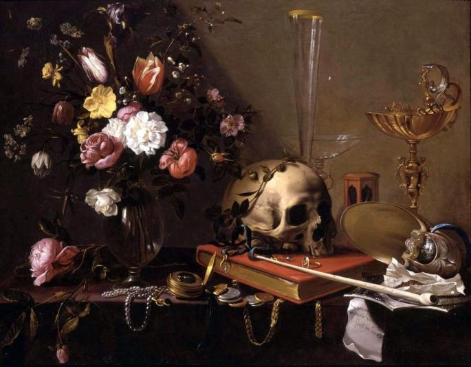 Adriaen_van_Utrecht-_Vanitas_-_Still_Life_with_Bouquet_and_Skull