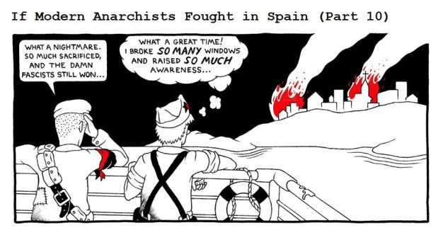 "Source: From the fantastic series ""If Modern Anarchists Fought in Spain"" by http://rednblacksalamander.deviantart.com/"
