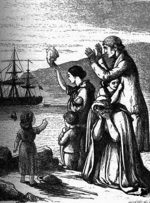 Emigrants Leave Ireland, engraving by Henry Doyle (1827–1893), from Mary Frances Cusack's Illustrated History of Ireland, 1868, Wikipedia Commons