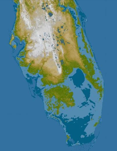 tate of Florida flooded by a 5-meter rise in sea level (dark blue) and a 10-meter rise (light blue). Attribution: Penn State College of Earth and Mineral Sciences.
