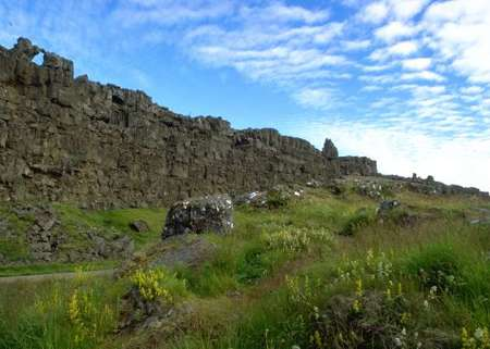 The Rock of Law at Thingvellir, the site of the Icelandic Althing