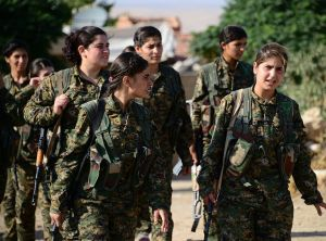 Female fighters of the YPJ play a significant combat role in Rojava. CC BY 2.0 Free Kurdistan.
