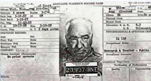 Associate Warden's Record Card for Wilhelm Reich, Lewisburg Federal Penitentiary, March 1957. Public Domain
