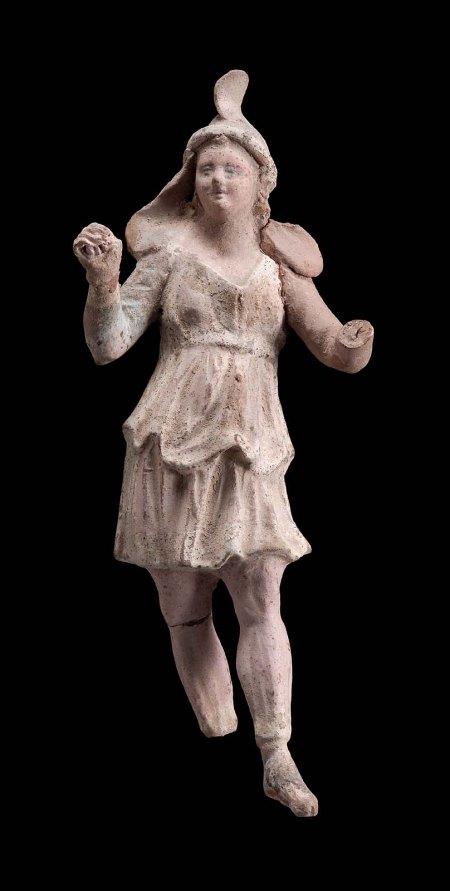 """Dancing Attis with Phrygian Cap."" Terracotta, ca. 150-130 BCE, Greek. Boston: Museum of Fine Arts, 01.7705."