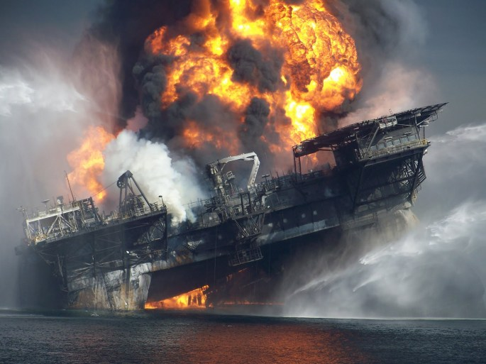 Explosion of the deepwater horizon tanker