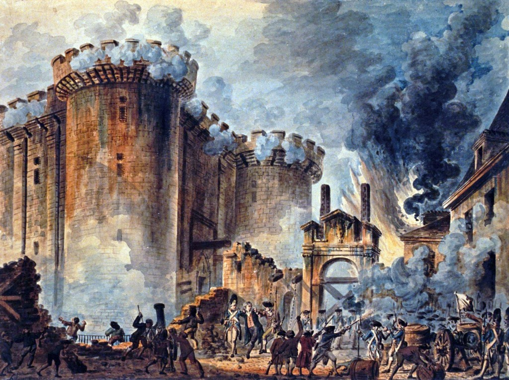 """""""The Storming of the Bastille"""", by Jean-Pierre Houël. Public Domain."""