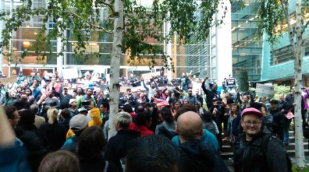 #BlackLivesMatter protest outside the federal courthouse in Seattle. Photo by the author. http://www.thenorthstar.info/?p=12665