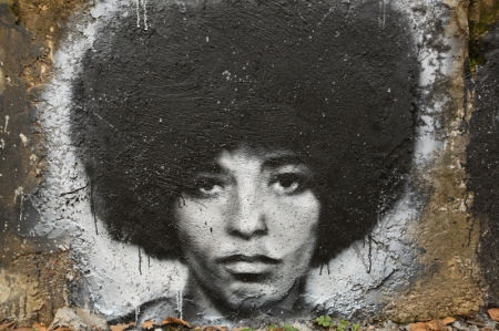 "USA activist Angela Davis grafitti in the ""Abode of Chaos"" museum of contemporary art, in Saint-Romain-au-Mont-d'Or, Rhône-Alpes"