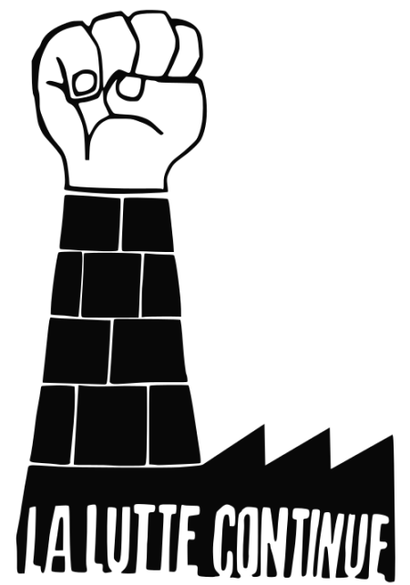 Vector illustration of the poster made for strikes in Paris in 1968. Black and white drawing of a factory with fist instead of chimney.