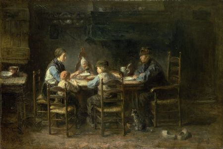 "1882 Jozef Israel Painting ""Family At The Table""  — Source: The Google Art Project and Wikimedia Commons"